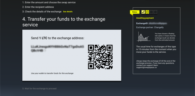 Exchange process, step 4